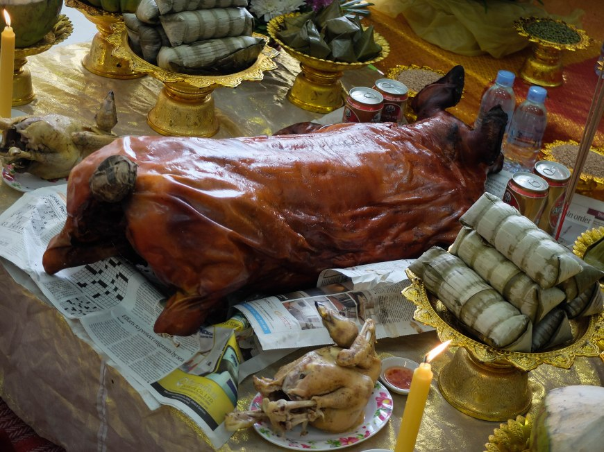 Pig straight from the spit and a couple of birds as offerings to Buddha