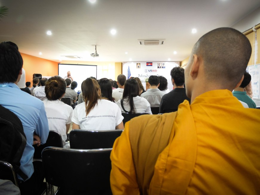 At a startup conference with a Buddhist monk - only in Cambodia!